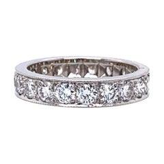 14 Karat White Gold and 2 Carat Diamond Eternity Band Ring