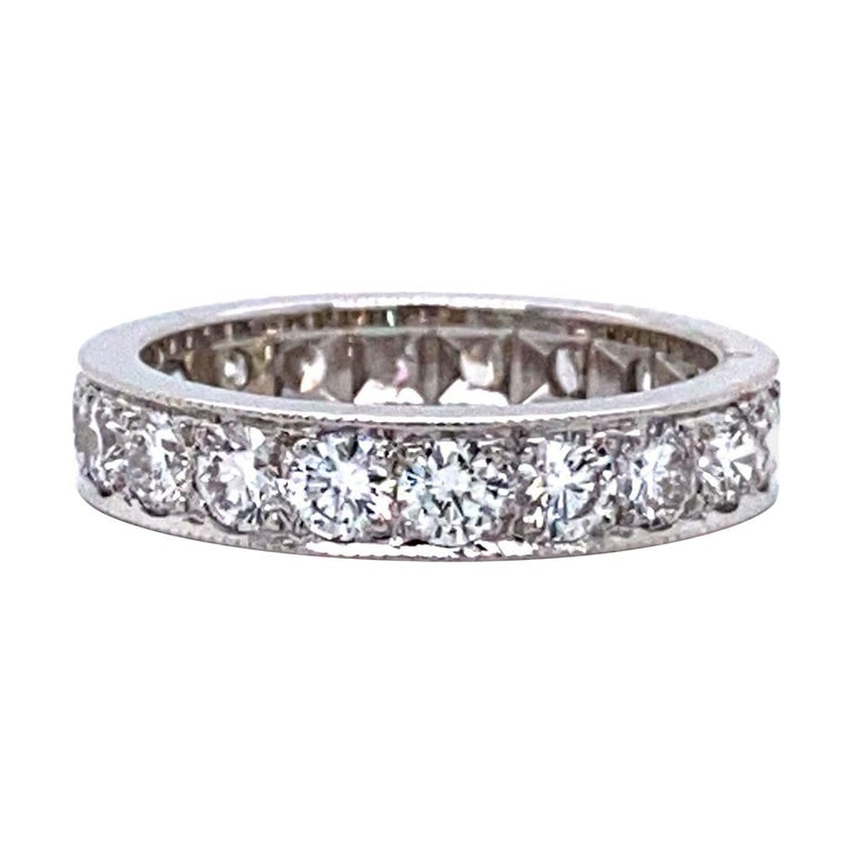 14 Karat White Gold and 2 Carat Diamond Eternity Band Ring For Sale