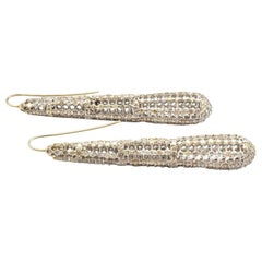 14 Karat White Gold and 9.00 Carat Diamond Dangle Earrings