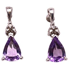 14 Karat White Gold and Amethyst Drop / Dangle Earrings with Diamond Accents