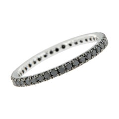 14 Karat White Gold and Black Diamond Eternity Ring