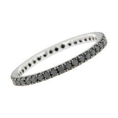 14 Karat White Gold and Black Diamond Eternity Ring
