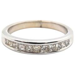 14 Karat White Gold and Channel-Set Princess Diamond Band Ring 0.50 Carat