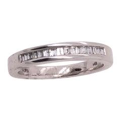 14 Karat White Gold and Diamond Band / Bridal Wedding Ring