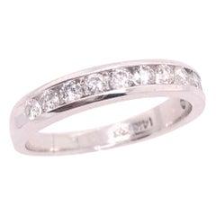 14 Karat White Gold and Diamond Band Bridal Wedding Ring