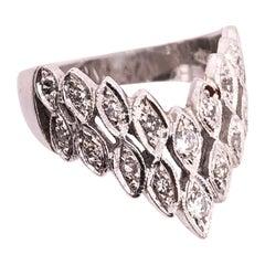 14 Karat White Gold and Diamond Band Wedding / Bridal Ring
