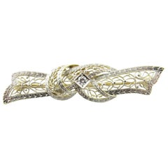 14 Karat White and Yellow Gold and Diamond Brooch or Pin
