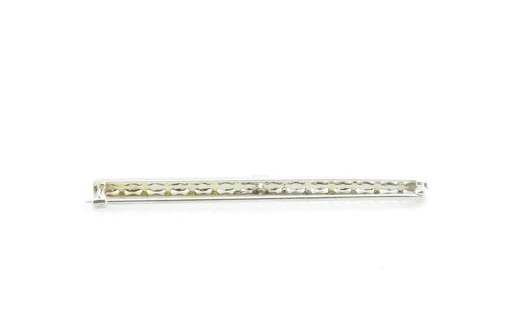 Round Cut 14 Karat White Gold and Diamond Brooch / Pin For Sale