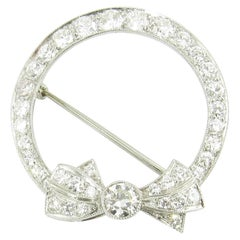 14 Karat White Gold and Diamond Brooch or Pin