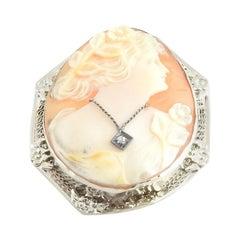 14 Karat White Gold and Diamond Cameo Brooch / Pendant