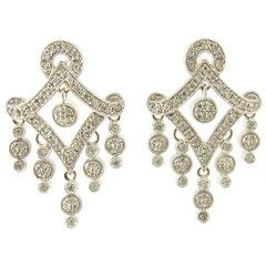 14 Karat White Gold and Diamond Chandelier Earrings