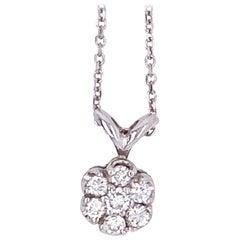 14 Karat White Gold and Diamond Cluster Pendant Necklace, circa 1970s