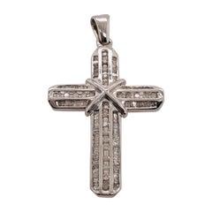 14 Karat White Gold and Diamond Cross Pendant 1.00 Total Diamond Weight