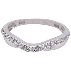14 Karat White Gold and Diamond Curved Wedding Band
