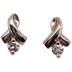 14 Karat White Gold and Diamond Drop Earrings 0.30 Total Diamond Weight