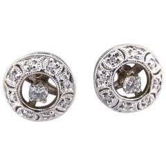 14 Karat White Gold and Diamond Earring Jackets