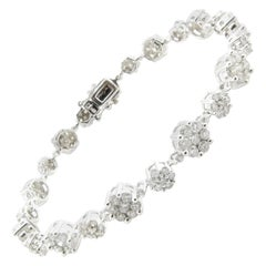 14 Karat White Gold and Diamond Floral Tennis Bracelet