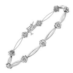 14 Karat White Gold and Diamond Flower Bracelet