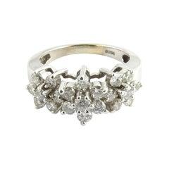 14 Karat White Gold and Diamond Flower Ring
