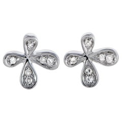 14 Karat White Gold and Diamond Flower Stud Push Back Earrings