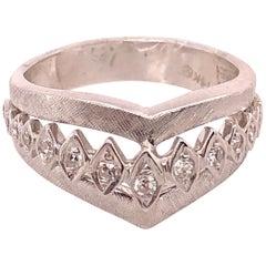 14 Karat White Gold and Diamond Geometric Ring or Bridal Band 0.33 TDW