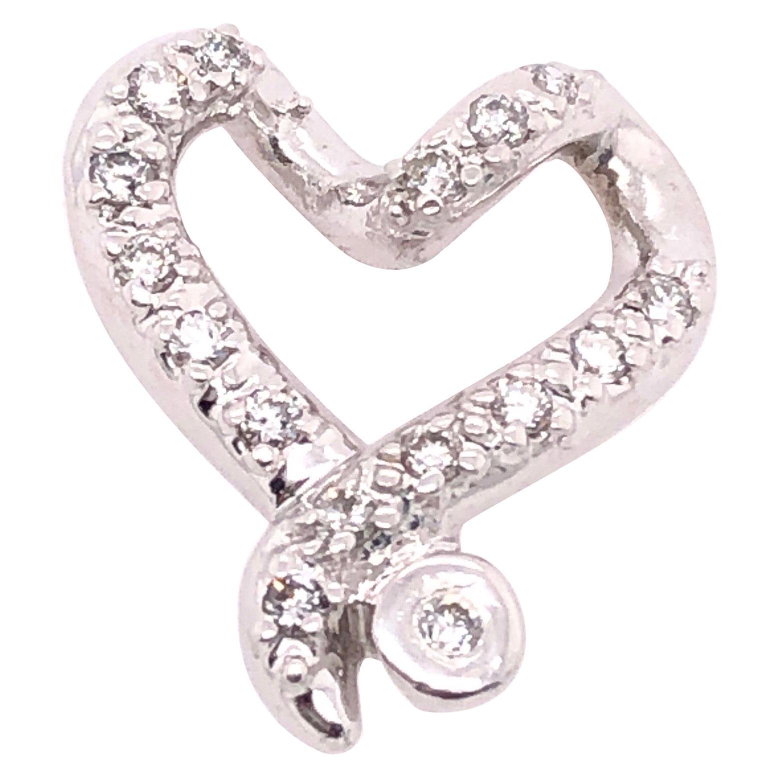 14 Karat White Gold and Diamond Heart Charm / Pendant