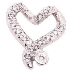 14 Karat White Gold and Diamond Heart Charm / Pendant