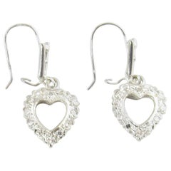 14 Karat White Gold and Diamond Heart Earrings