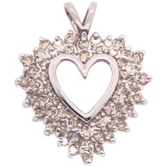 14 Karat White Gold and Diamond Heart Pendant
