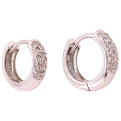14 Karat White Gold and Diamond Hoop Earrings 0.20 Total Diamond Weight