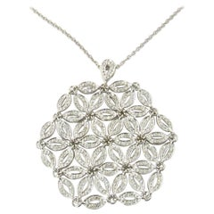 14 Karat White Gold and Diamond Large Floral Snowflake Pendant Necklace #2056