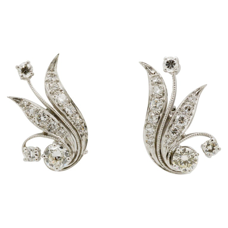 14 Karat White Gold and Diamond Leaf Earrings For Sale