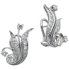 14 Karat White Gold and Diamond Leaf Earrings