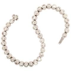 14 Karat White Gold and Diamond Line Bracelet