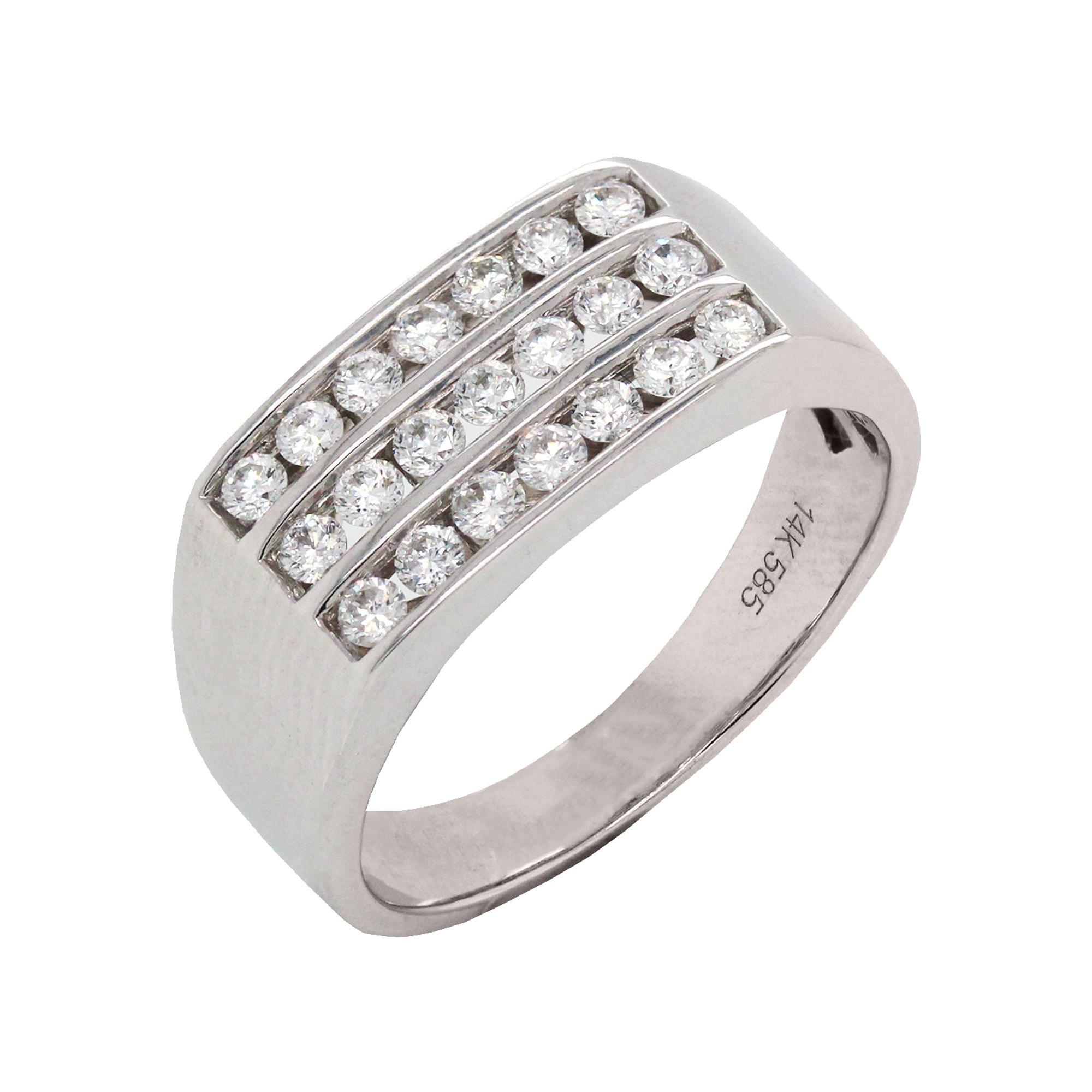 14 Karat White Gold and Diamond Men's Ring