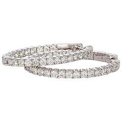 14 Karat White Gold and Diamond Oval Hoop Earrings 3.81 Carat
