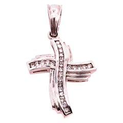 14 Karat White Gold and Diamond Religious Charm / Crucifix Pendant