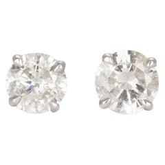 14 Karat White Gold and Diamond Stud Earrings 1.25 Carat