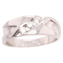 14 Karat White Gold and Diamond Three-Stone Band Wedding Bridal Ring
