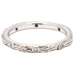 14K White Gold and Diamond Vine Stackable Band