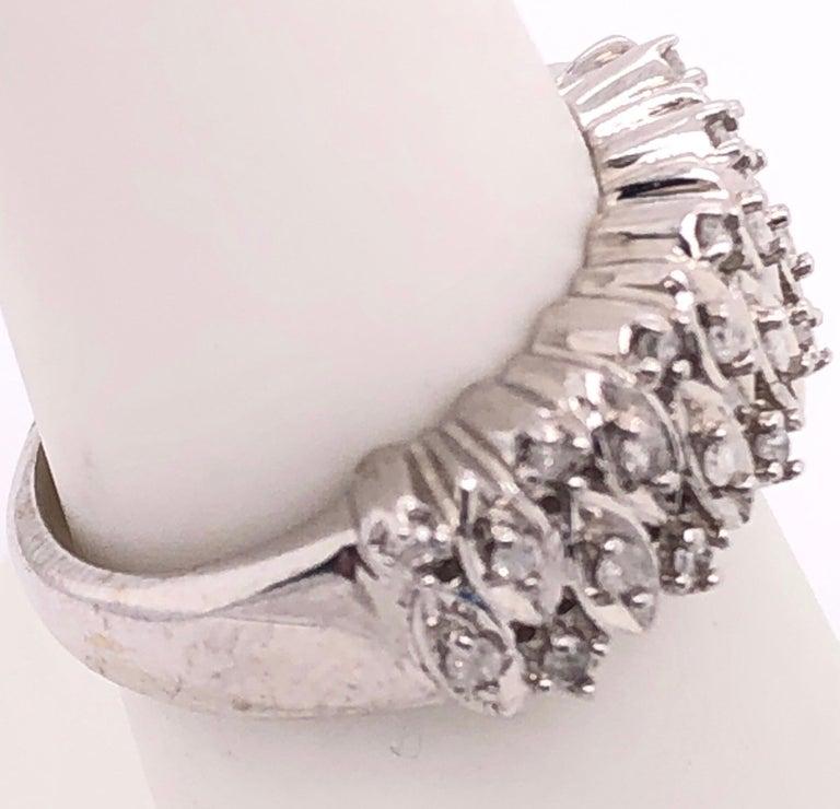Women's or Men's 14 Karat White Gold and Diamond Wedding Band Bridal Ring For Sale