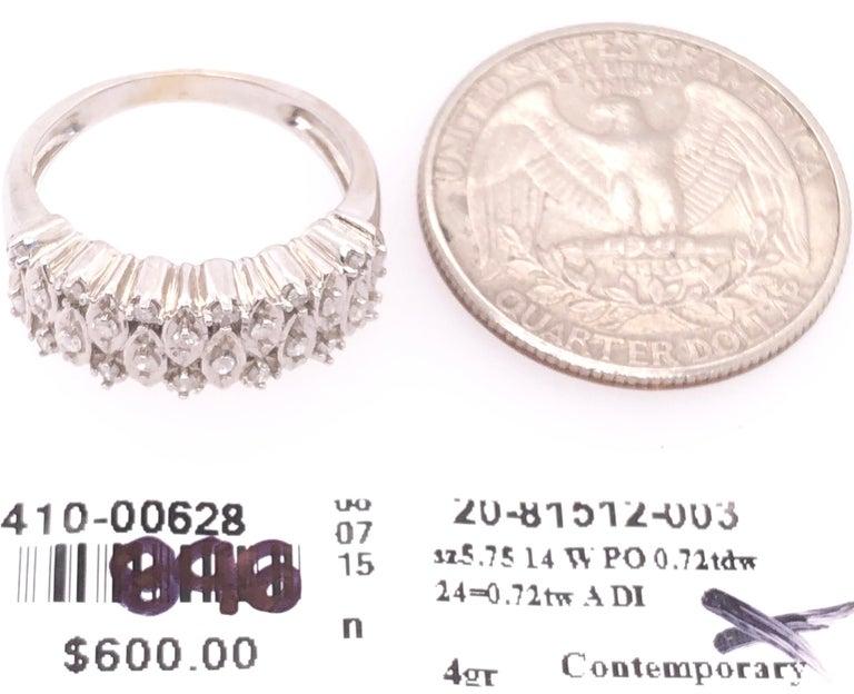 14 Karat White Gold and Diamond Wedding Band Bridal Ring For Sale 1