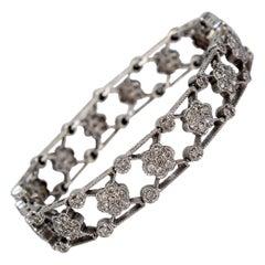 14 Karat White Gold and Diamond X-Link Bracelet