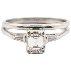 14 Karat White Gold and Emerald Cut Diamond Engagement Ring