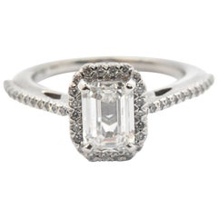 14 Karat White Gold and GIA 1.07 Carat Emerald-Cut Diamond Ring with Accents