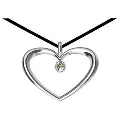 14 Karat White Gold and GIA Diamond Polished Tapered Heart Necklace