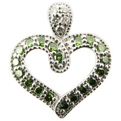 14 Karat White Gold and Green and White Diamond Heart Pendant