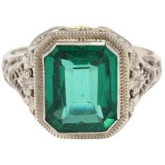 14 Karat White Gold and Green Stone Filigree Ring