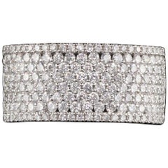 14 Karat White Gold and Pave Diamond Wide Band Ring