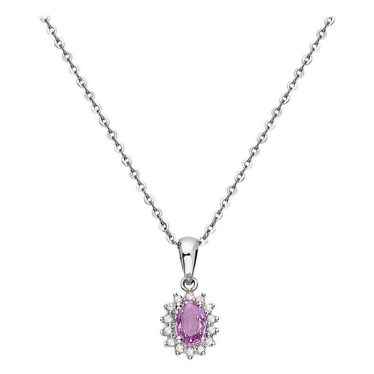 14 Karat White Gold and Pink Sapphire Diamond Pendant Necklace For Sale